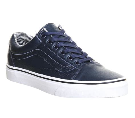 vans leather  skool  blue  men lyst