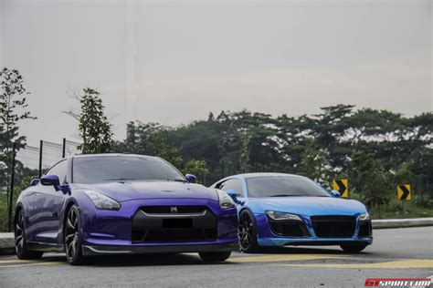 audi r8 chrome blue gallery chrome blue audi r8 and nissan gt r gtspirit