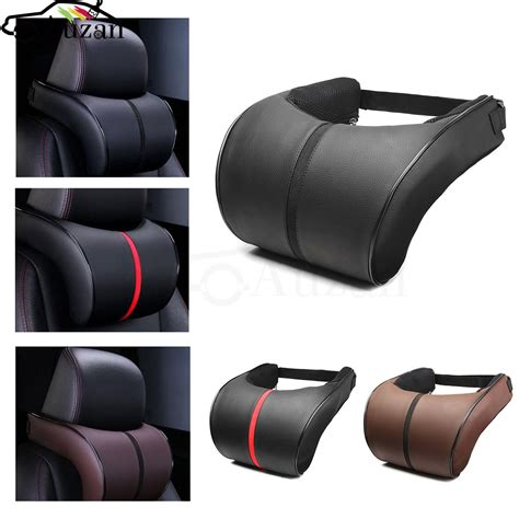 pillow car pu leather car auto seat neck pillow memory foam neck