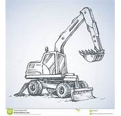 Excavator Drawing Isolated On White Background Stock