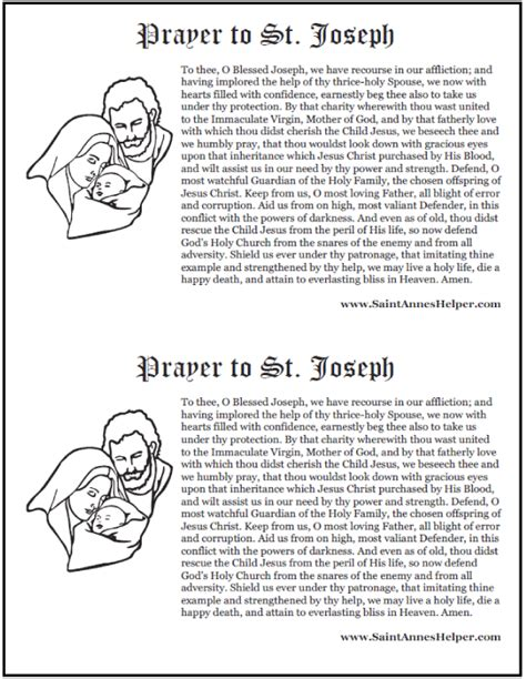 st joseph prayer to buy a house prayer to st joseph printable prayer card and coloring pages