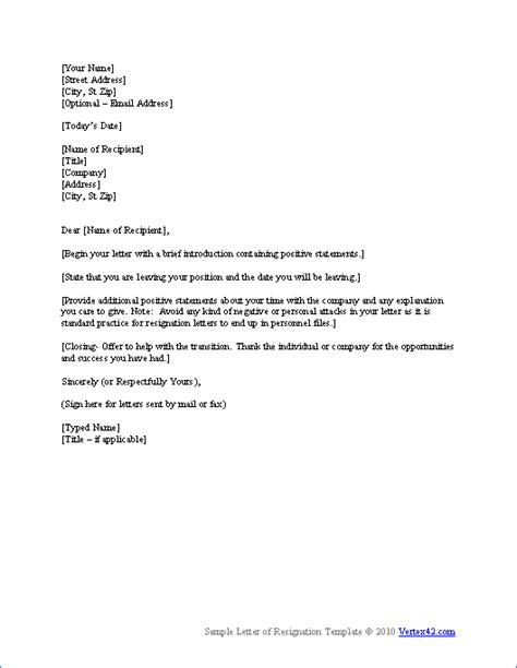 letter resignation template resignation letter