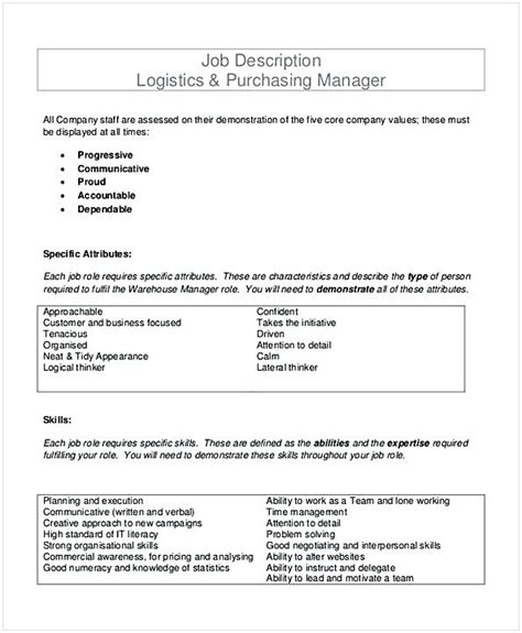 purchasing manager description purchasing manager resume