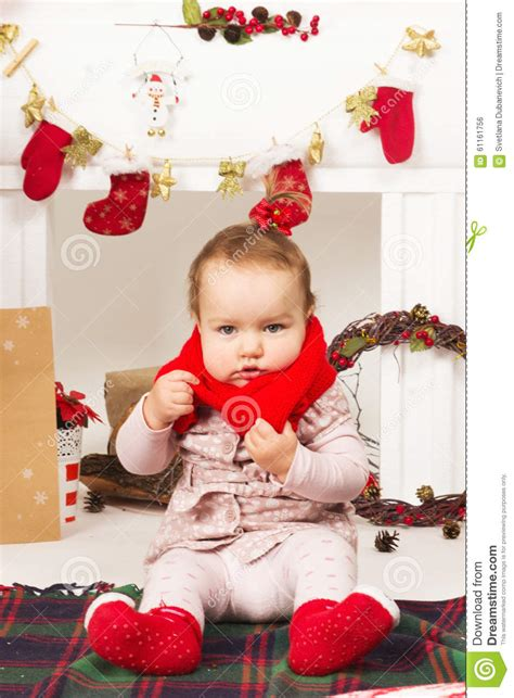 baby in christmas decorations stock photo image 61161756