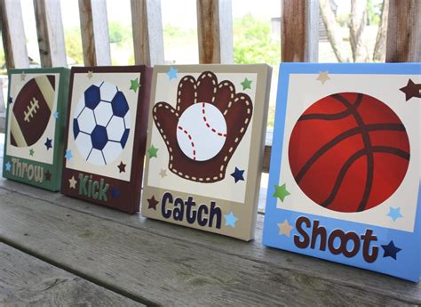 wall decor sports set of 4 canvas art sports room decor set of 4 all star sports boys bedroom 8x10 by toadandlily
