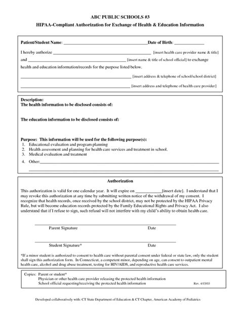 Hipaa Compliant Authorization Form Sle Forms Hipaa Compliant Release Of Information Template