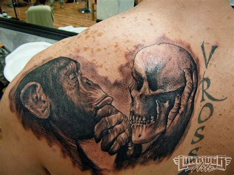 skull shoulder tattoo 45 monkey shoulder tattoos design