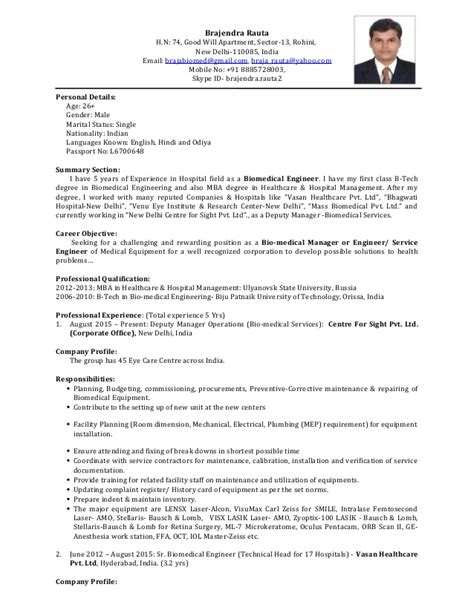 biomedical engineering resume sles resume biomedical engineer
