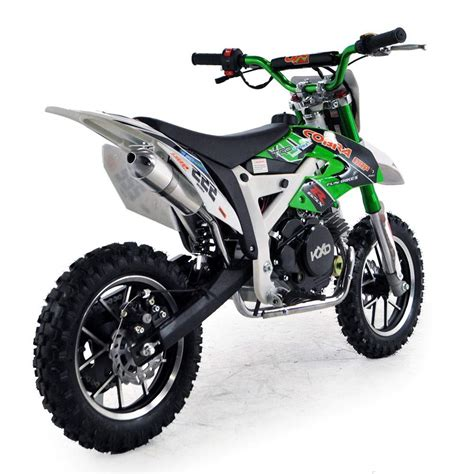 childrens motocross bikes cobra 4s 50cc 62cm green kids mini dirt bike fics