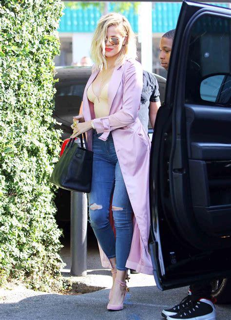 khloe kardashian nude in bathtub khloe k wears a plunging bodysuit shaper street style pic