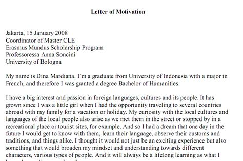 Motivation Letter Untuk Beasiswa Contoh Cover Letter Magang Bahasa Indonesia Cover Letter Templates