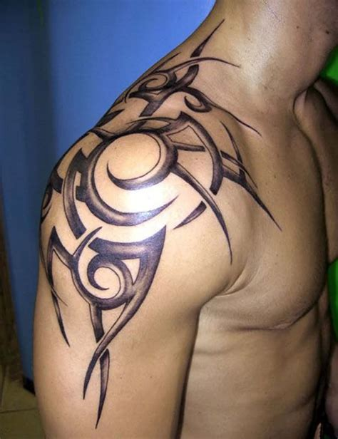 beautiful maori tribal tattoo on left shoulder for men