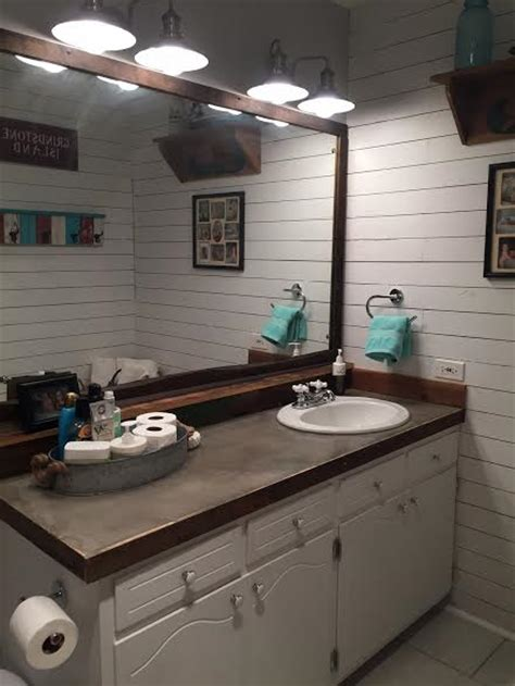 Redo Bathroom Countertop by Guest Bathroom Redo With Shiplap Concrete Counter Top
