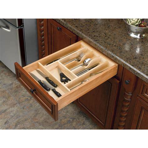 knife drawer insert wood shop rev a shelf 22 in x 14 63 in wood cutlery insert
