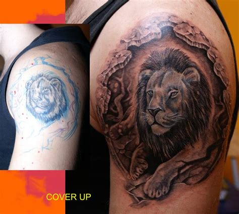 lion cover up tattoo ideas by