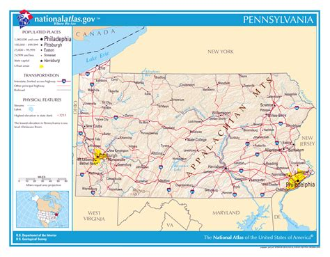 pennsylvania in usa map large detailed map of pennsylvania state pennsylvania