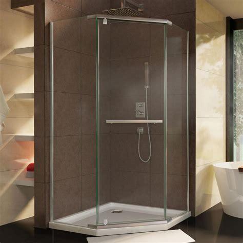 Corner Shower Doors Dreamline Prism 34 1 8 In X 72 In Semi Frameless Corner Pivot Shower Enclosure In Brushed