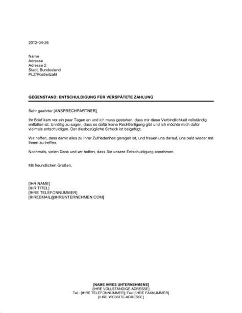 Entschuldigung Briefvorlage Entschuldigung F 252 R Versp 228 Tete Zahlung Vorlagen Und Muster Biztree