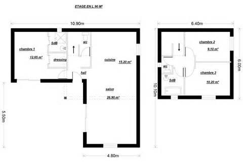 plan etage 4 chambres 1 bureau