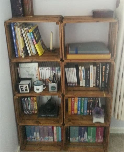 how to build a bookcase from a wooden craft crate