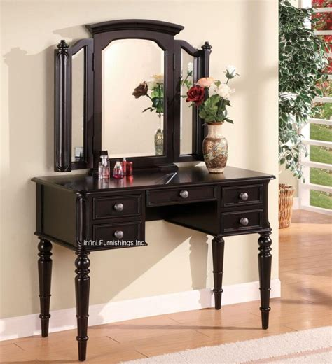 2pcs black vanity table tri view mirror set make up