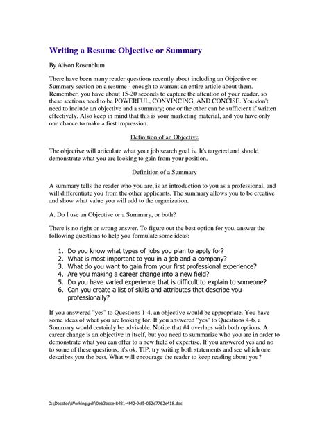 Summary For Resume by Resume Summary Exles