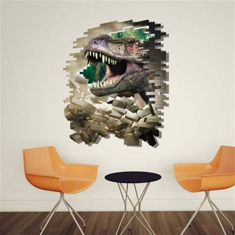 3d home decor breaking wall dinosaur removable wall