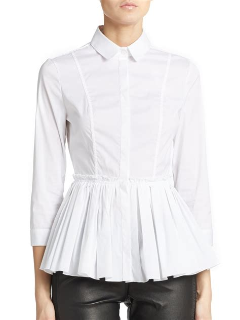 White Blouse white pleated blouse sleeved blouse