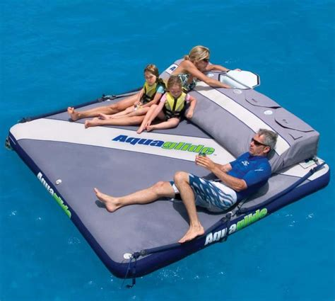 floating boat island giant floating mattress with cooler water toys