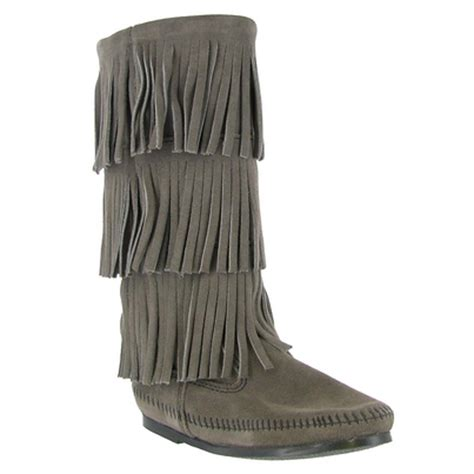 minnetonka 3 layer fringe boot womens boots