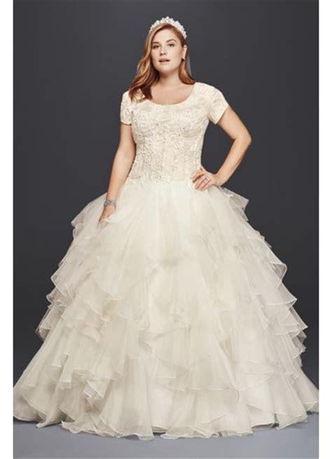 Plus Size Modest Wedding Dresses by Oleg Cassini Plus Size Modest Ruffle Wedding Dress