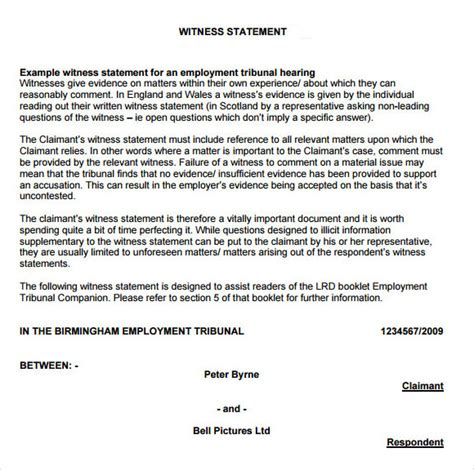 witness statement template sle witness statement 8 documents in pdf word