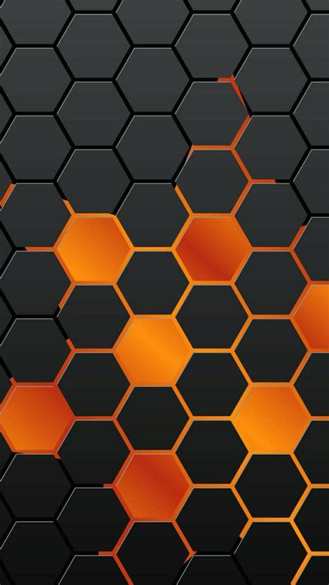 iphone wallpaper background orange black octagon pattern