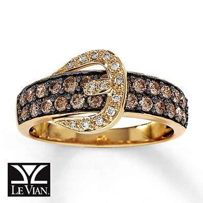 Chocolate Diamonds® Ring 3/4 ct tw Round cut 14K Honey