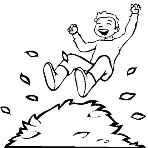boy jumping coloring page a boy jumping into a pile of leaves coloring pages
