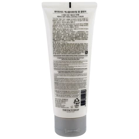 The Shop White Seed Exfoaliating Cleanser the shop white seed exfoliating cleansing foam 5 0 fl oz 150 ml iherb