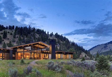 Large Open Kitchen Floor Plans by River Bank House Montana By Balance Associates Architects