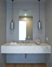 Marble Sink Vanity Floating Marble Sink Vanity With Gray Glass Pendants Contemporary Bathroom