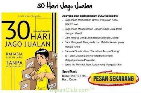 30 Hari Jago Jualan Buku Best Seller buku 30 hari jago jualan impianclub