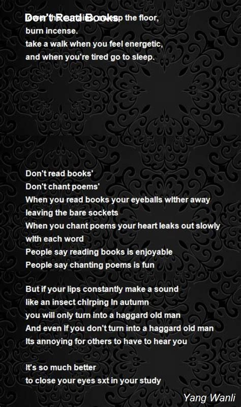 don t read this book books don t read books poem by yang wanli poem