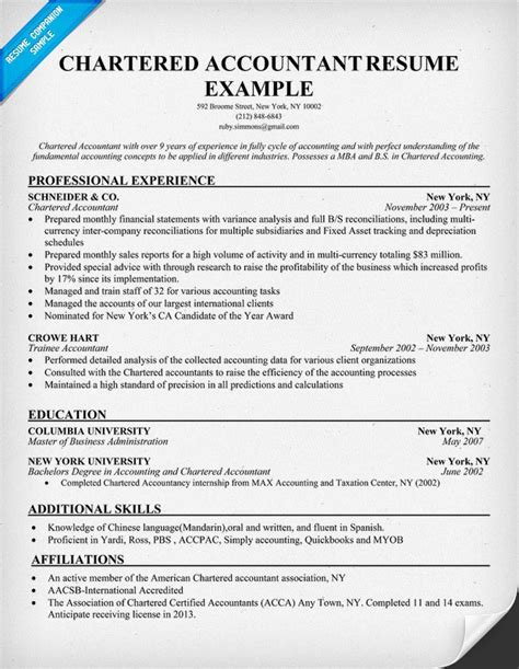 chartered accountant resume exle professions