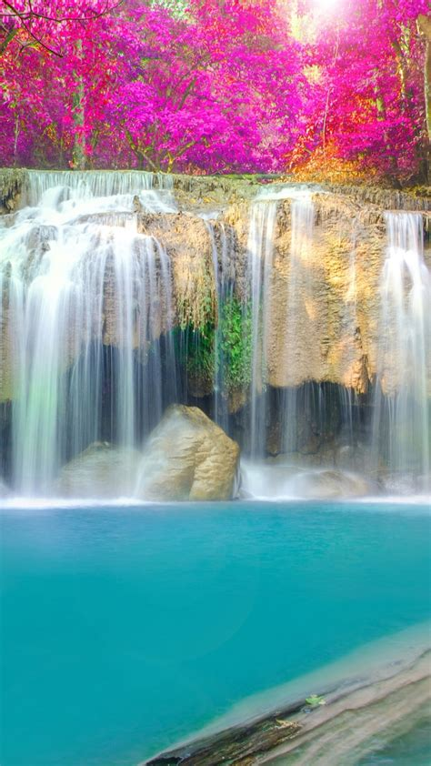 wallpaper waterfall thailand erawan falls erawan