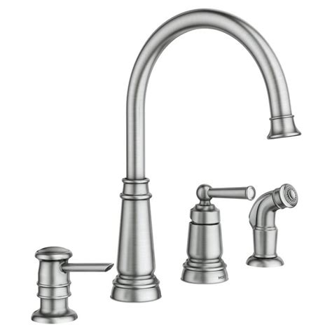 moen brushed nickel kitchen faucet moen monticello kitchen faucet brushed nickel