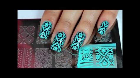 Moyou Nail St Pro Plate 03 moyou pr xl 03 mint flower argyle nail sting tutorial