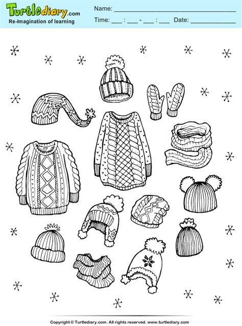 woolen clothes coloring sheet turtle diary