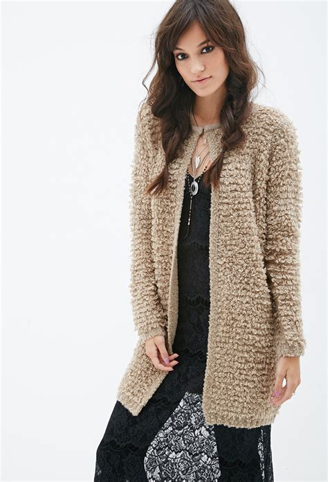 knit cardigan forever 21 forever 21 longline loop knit cardigan in brown lyst