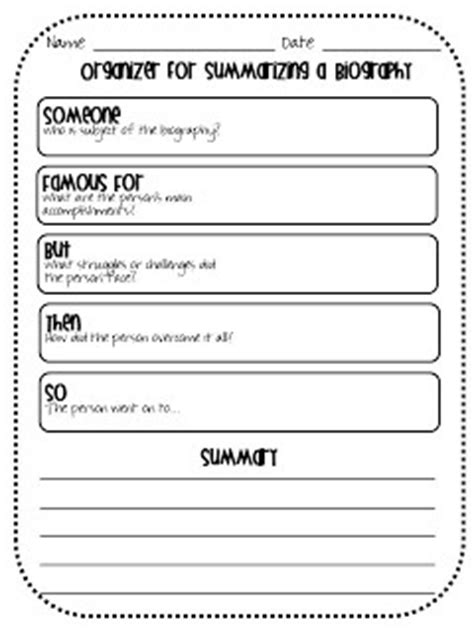 biography graphic organizer pinterest organizer for summarizing a biography teaching ideas