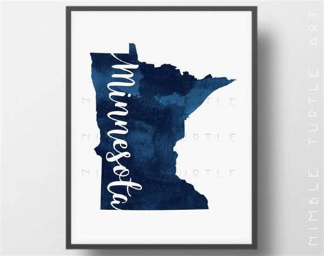minnesota state outline blue watercolor printable minnesota
