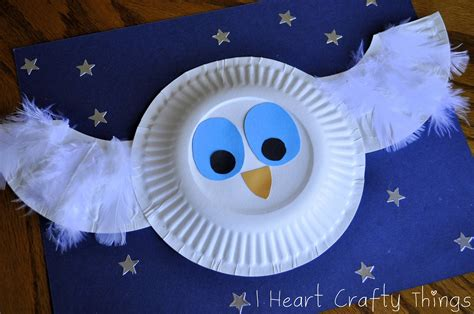 Paper Plate Snowy Owl Craft - the white owl craft i crafty things