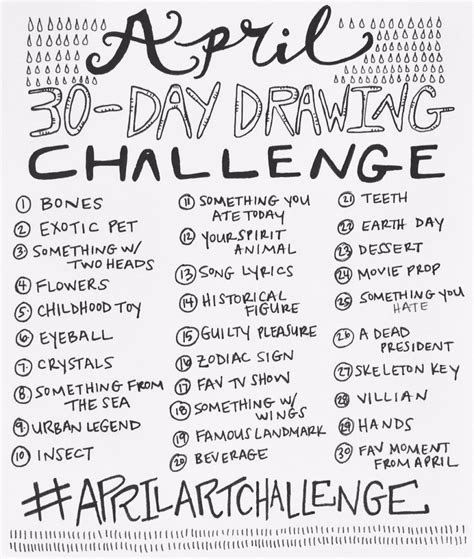 doodle a day ideas april 30 day drawing challenge by bun